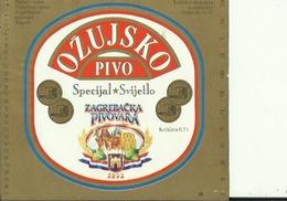 OZUJSKO SPECIJAL SVIJETLO PIVO --  LABEL, ETIQUETTE  --  PIVOVARA ZAGREB,  CROATIA - Bier