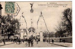 33 - GIRONDE - 1907 - CPA BORDEAUX - ENTREE EXPO MARITIME INTERNATIONALE  - EXC ETAT - - Bordeaux