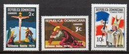 Dominican Republic 808-09+C290 Jesis Crucifixion Holy Week From 1979 - Christianity