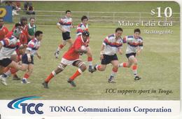 TONGA - The National Tongan Rugby Team 2003, TCC Prepaid Card $10, Exp.date 30/06/06, Used