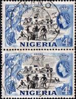 Nigeria Poste Obl (Yv:  81 Yv:0,6 Euro) Cocoa (TB Cachet Rond) Paire - Nigeria (1961-...)