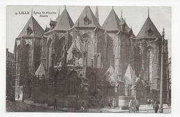 LILLE - N° 4 -  EGLISE ST MAURICE AVEC PERSONNAGES ET VELO - ABSIDE - CPA VOYAGEE - Lille