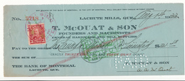 CANADA / KANADA - Lachute Mills, Quebec - 1933 , T. McOUAT & SON - Cheque - Schecks  Und Reiseschecks
