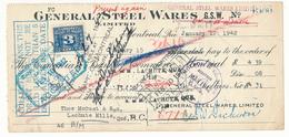 CANADA / KANADA - Montreal - 1942 , General Steel Wares - Schecks  Und Reiseschecks