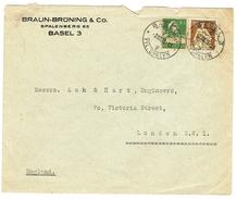 LETTRE  OBLITERES  BASEL LE 2.8.1923. POUR LONDON . CATALOGUE DES TIMBRES SUISSES Nr:110.153. - Svizzera