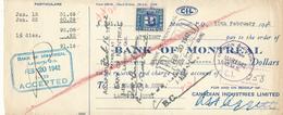 CANADA / KANADA - Montreal - 1942 ,  Bank Of Montreal - Schecks  Und Reiseschecks