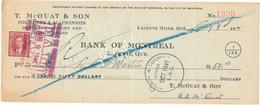 CANADA / KANADA - Lachute Mills, Quebec - 1941 , T. McOUAT & SON  -  Bank Of Montreal  -  Cheque - Schecks  Und Reiseschecks