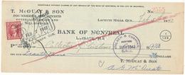 CANADA / KANADA - Lachute Mills, Quebec - 1942 , T. McOUAT & SON  -  Bank Of Montreal  -  Cheque - Schecks  Und Reiseschecks