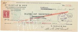 CANADA / KANADA - Montreal  - 1942 , T. McOUAT & SON  -  Bank Of Montreal  -  Cheque , Dispatch: Big Letter - Schecks  Und Reiseschecks