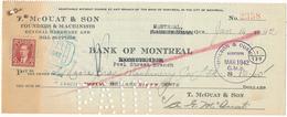 CANADA / KANADA - Montreal  - 1942 , T. McOUAT & SON  -  Bank Of Montreal  -  Cheque - Schecks  Und Reiseschecks