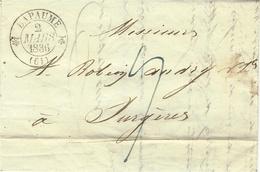 1836- Lettre De BAPAUME   ( Pas De Calais ) Cad T12  Taxe 9 D. Pour Surgères - Storia Postale