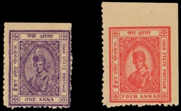 IDAR STATE, India-2 Different Mint Stamps-Feudatory State - Idar