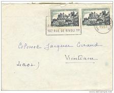 Lettre Avec Deux N° Maury 1040 à Destination Du LAOS (Vientane) Oblitération PARIS Du 16.09.1957 - Marcofilia (sobres)