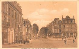 Le Mans - Un Coin De La Place Thiers Et L'Avenue - Edition A. Dolbeau - Carte Sépia N° 126 - Le Mans