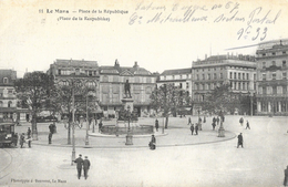 Le Mans - Place De La République, Petite Animation: Tramway - Phototypie J. Bouveret - Carte N° 11 - Le Mans