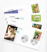 """Enveloppes  1er Jour FDC 2006 4 Enveloppes """"le Chaton,le Poulain,l'agneau,le Chiot - 2000-2009"""