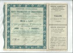 1 Action EXPOSITION INTERNATIONALE DES ARTS DECORATIFS ET INDUSTRIELS    Paris 1925....... à Voir....... - Non Classés