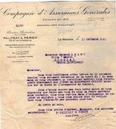 VP7280 - Lettre - Cie D'Assurances Générales PALFRAY & PERON Au HAVRE - Bank & Insurance