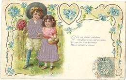 ENFANTS.  Fleurs. Panier.  Gauffrée - Children And Family Groups