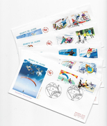 """Enveloppes  1er Jour FDC 2004 5 Enveloppes """"sport De Glisse""""parapente,planche à Voile,snowboard,luge,bi Cross - FDC"""