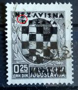 COAT OF ARMS-0.25 D-OVERPRINT-NDH-ERROR-RETOUCH CIRCLE-CROATIA-1941 - Croatia