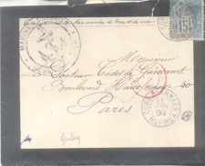 NOUVELLE CALEDONIE A PARIS 1892 MILITARY COVER TO THE FAMOUS MEDICIEN CHARLES LOUIS CADET DE GASSICOURT FRANKED - Briefe U. Dokumente