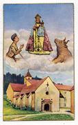 IMAGE PIEUSE HOLY CARD SANTINI CHROMO ILLUSTRATEUR : Notre Dame De FONT ROMEU ODEILLO VIA MARIA Soldat Taureau Monastère - Andachtsbilder