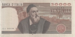VENDO BANCONOTA L.20.000 TIZIANO - SERIE= KA 042138 D - STATO CONSERVAZIONE - MB - - 20000 Lire