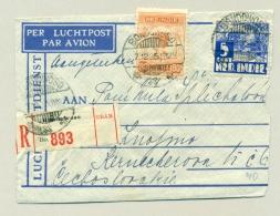 Nederlands Indië - 1935 - 80 Cent Wilhelmina Op R-LP-briefje Van Bondowoso Naar Prag / CS - Nederlands-Indië