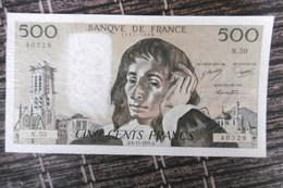 BILLET DE COLLECTION  CINQ CENTS FRANCS PASCAL 9.7 CM X 18 CM  6.11.1975  TRES BON ETAT - 1962-1997 ''Francs''