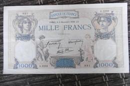 BILLET DE COLLECTION  MILLE FRANCS  CERES MERCURE  13 CM X 23.2 CM  3.11.1938  PARFAIT ETAT - 1 000 F 1927-1940 ''Cérès Et Mercure''