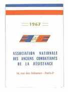 CARTE ASSOCIATION NATIONALE DES ANCIENS COMBATTANTS DE LA RESISTANCE 1967 2 VIGNETTES - Documents