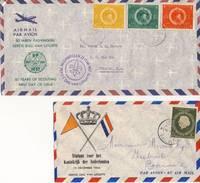 Luchtpost: 2 FDC´s Uit De Jaren '50 (1954 En 1957) - Curacao, Netherlands Antilles, Aruba