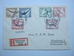1936 , Berlin - Olympiade , Teilsatz Mit Sonder-Einschreibzettel Auf Brief Regattabahn