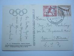 1936 , Berlin - Olympiade ,Karte  Mit Sonderstempel In Die CSSR