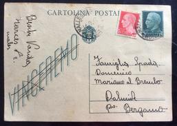 """INTERO POSTALE DA VALLES VENOSTA IN DATA 11/9/43.."""" Vostro Familiare Fatto Prigioniero ...""""  DOPO L'8 SETTEMBRE..... - 1900-44 Victor Emmanuel III"""