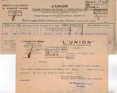 VP7291 - Lettre & Reçu - Cie D'Assurances ¨ L'UNION ¨ L.LAURENT & Fr.KORINEX Au HAVRE & PARIS - Bank & Insurance