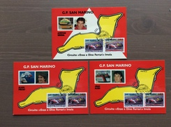 Trittico Di Cartoline G. P. San Marino Con Annullo Maranello Rosso Rep. San Marino 1-12-90 - Grand Prix / F1