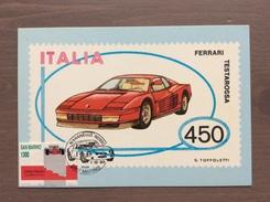 Cartolina Ferrari Testarossa Con Annullo Maranello Rosso Rep. S.Marino 1-12-90 - Grand Prix / F1