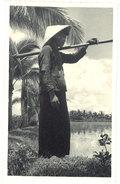 Cpa Carte-photo Cochinchine - Kha-que ( Femme Dans Les Rizières ) - Viêt-Nam