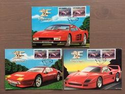 Trittico Di Cartoline Ferrari, Illustratore Bettarini, Con Annullo Maranello Rosso Serie Rep. S.Marino 1-12-90 - Grand Prix / F1