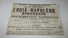 LOUIS-NAPOLEON BONAPARTE - PORTRAIT - SOUSCRIPTION NATIONALE - ANNONCE - 1852 ( LA PATRIE.) - Publicités