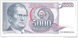 Yugoslavia - Pick 93 - 5000 Dinara 1985 - Unc - Jugoslavia