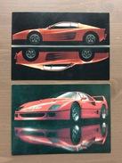 Coppia Di Cartoline Ferrari Con Sul Retro Annullo Trofeo Enzo Ferrari Int. Giov. Calcio Maranello 1-4-1991 - Grand Prix / F1