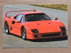 Cartolina Ferrari F40 Con Sul Retro Annullo Trofeo Enzo Ferrari Int. Giov. Calcio Maranello 1-4-1991 - Grand Prix / F1