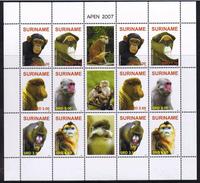 Surinam / Suriname 2007 Aap Apen Monkey Ape Affen Singe MNH Sheet - Apen