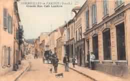 95 - VAL D'OISE / Cormeilles En Parisis - Café LANDRON - Grande Rue - Très Beau Cliché Animé Et Colorisé - Cormeilles En Parisis