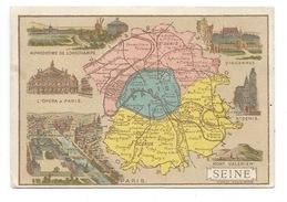 SEINE Département Carte Géographique Chromo 100 X 68 Mm Pub: Chicorée G. Black A LA CANTINIÈRE FRANÇAISE Bien - Trade Cards