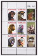 Surinam / Suriname 2007 Aap Apen Monkey Ape Affen Singe MNH Tab - Apen