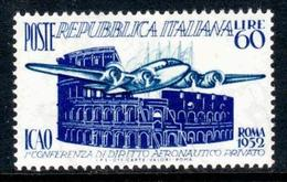 REPUBBLICA 1952 - ICAO Sass. 697 - Mi. 869 Serie Cpl. 1v. Nuovo** - 6. 1946-.. República